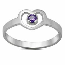 925 Sterling Silver Ring Kids Heart Baby Midi Amethyst Size 3 New x42