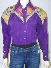 Purple Rhinestone Embellished Collared Western One Piece Top Womens Medium 8 10