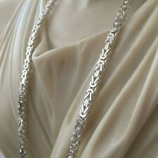 Mens King Byzantine Chain Necklace Pendants 3mm 35GR 24Inch 925 Sterling Silver