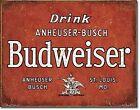 Drink Anheuser Busch Budweiser Metal Wall Sign (ga)