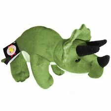 30cm Green Triceratops Dinosaur Cuddly Soft Toy By Dowman