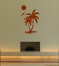 Wall Vinyl Sticker Room Decal Mural Design Palm Tree Beach Sun Bird Sea bo2384