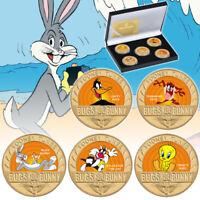 5pcs Bugs Bunny Gold Coin US Anime Daffy Duck Tweety Bird Souvenir Gifts