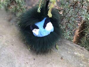 US Seller Mini Monster Face Mink Fox Fur Pom Keychain Bag Charm Raccoon