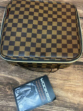 WODKEIS Checkered Travel Bag Makeup Organizer Case Adjustable Dividers NEW!
