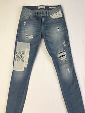 Guess Patchwork Skinny Jean Sz 25 Floral Striped Eyelet Boho Patterns