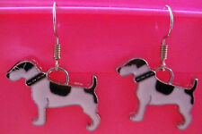 Boucles d'oreilles argentées chien noir et blanc