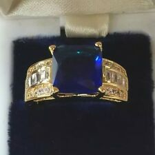 Vintage Art Deco Jewelry Gold Ring Blue and White Sapphires Antique Jewellery