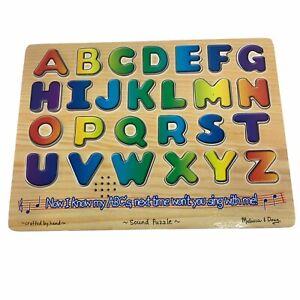 Melissa & Doug Talking Alphabet Sound Wooden Puzzle English 26 pcs EUC #dw109