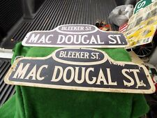 Rare Vintage New York Bleeker St & Mac Dougal St Cardboard Street Signs Lot Of 2