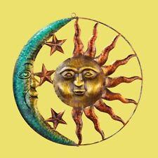 Celestial Wall Art Sculpted Metal Sun Moon & Stars Rustic Finish Indoor/Outdoor