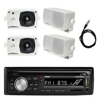 Bluetooth Marine Radio MP3/USB/SD CD AM/FM, 4x Weather Proof Speakers + Antenna