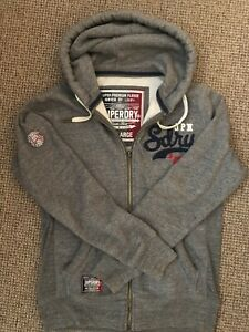Mens superdry zip hoodie large grey, full zip, white and blue accents