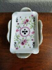 Vintage Camille Naudot Porcelain Playing Card Ashtrays/Trinket Holder 4 Euc
