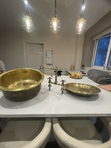 antique brass sink & Drainer With Tap