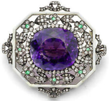 Enamel Look 925 Silver Brooch Pin 4.10ct Rose Cut Diamond Amethyst Emerald