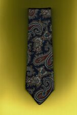 Kenneth Roberts Navy Blue Red Paisley Tie 100% Italian Silk New