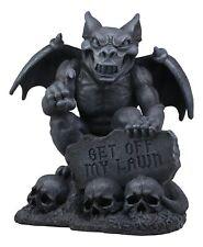 Large Gothic Evil Winged Gargoyle By Skull Graveyard With Warning Sign Statue