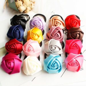 """Medium 1.5"""" Rose Satin Ribbon Flower Lot Sewing Appliques for Craft Supplies"""