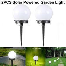 2PCS LED Solar Power Ground Light Globe Outdoor Garden Lawn Path Lamp Waterproof