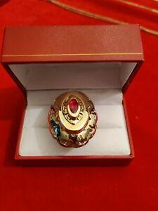 Opulenter Damen Ring aus 585er Gelbgold mit einem Rubin Ringkopf 4x3cm 9,3 Gramm