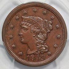 1849 N-4b PCGS MS 64+ BN Braided Hair Large Cent Coin 1c Ex; Dan Holmes
