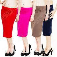 New Womens Ladies Plain Bodycon Knee Length Pencil Midi Skirt Size 8 10 12 14