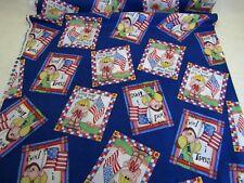 Julie Ann Smith Cotton Fabric Americana Novelty Flag Squares Quilt Children 1 YD