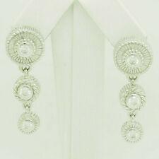 JUDITH RIPKA Silver 925 Round Cubic Zirconia Dangle Drop Leverback Earrings