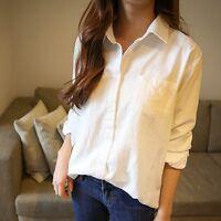 Womens Cotton Linen White Longline Shirt Long Sleeve Collared Top Blouse Coat