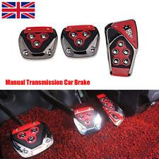 3 Pcs Red Manual Transmission Car Brake Non-Slip Foot Pedal Cover Pad Cover Kit
