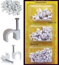 80 Piezas Clips De Cable Blanco Grano 3 tamaños surtidos de fijación de pared Hazlo tú mismo Cable Clip Nuevo