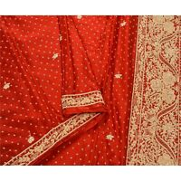 Sanskriti Vintage Dark Red Heavy Dupatta 100% Pure Satin Silk Hand Beaded Stole