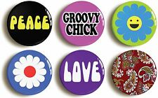 6x SIXTIES RETRO HIPPIE CHICK BADGES BUTTONS PINS (1inch/25mm diameter) 1960s