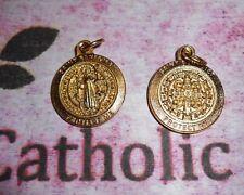 "Medalla De San Benito - St Benedict - Premium Rd Gold tone OX  3/4"" Medal"