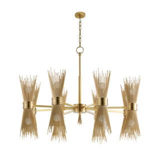 1950's Mid Century Modern Brass Dual Cane Brass Italian Chandeliers Ceiling Fixt