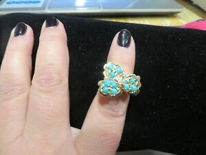 Gorgeous14 k Yellow Solid Gold Ring Turquoise / Diamond Size 6 1/4    14.6 gr