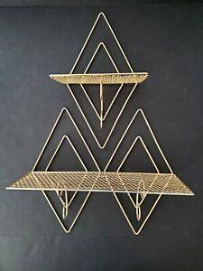 2 VTG Mid Century Modern Diamond Brass Hanging Wall Shelves