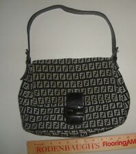 Vintage Fendi Zucca small/ Medium Handbag Baguette Flap Magnetic Closure