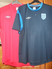 "BUNDLE OF 2 MENS ENGLAND FOOTBALL SHIRTS/TOPS/T-SHIRTS SIZE XXL & 50"" CHEST"