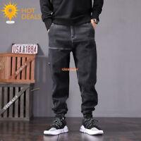 New Men`s Retro Black Loose Denim Pants Harem Taper Fit Baggy Jogger Jeans