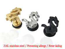 Women Men Titanium steel China Dragon Stud Earrings Anti Allergy Ear Stud X33E