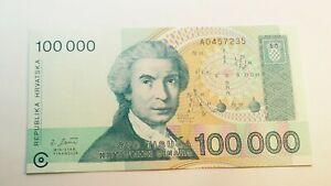 Billet CROATIE 100000  Dinara 1993