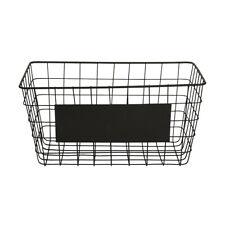 Black Metal Wire Basket Storage Crate Vintage Mesh Hamper Organizer Container