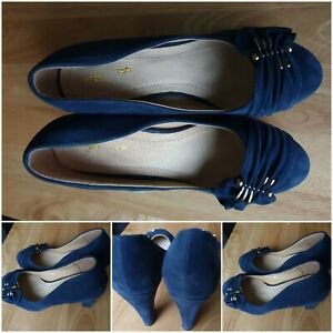Blue Suede Block Heel Court Shoe Thick High Heel Women Smart Casual Shoe Size 7