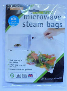 Pack of 25 Microwave Steam Steamer Bags Quickasteam by Toastabags - Free Post Pk