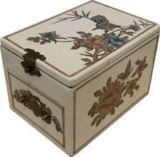 White Jewellery Box with Stand up  Mirror - Traditional Chinese (MB-S1W-FL)