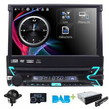 Camera Dash Radio GPS Single DIN Flip Out 7 inch Touch UI DVD CD Car Stereo+Cam
