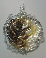 Sterling Silver Wire Wrapped Shell Carved Mermaid MOP  Pendant by Rebecca Weber