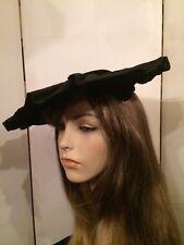 Vintage 1940's Black Velour w Pleated Satin Brims Saucer Wide Fascinator Hat
